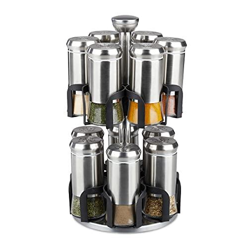 Relaxdays Carrusel, 12 tarros, Acero Inoxidable y Cristal, Giratorio, Estante para Especias Apto para lavavajillas, Color Plateado y Negro