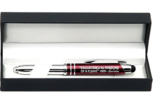 Inkstone Gift Pen with Inspirational Quote'Education is the kindling of a flame - Socrates' Engraved Pen with LED Light and Stylus Tip