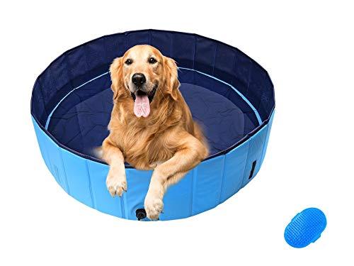 Dog Pool Ø120cm Piscina per Cani, Cani Animali Portatile Pieghevole 120x30cm Blu Rigida, Piscinetta Bambini in PVC, Mini Vasca Esterno Grandi