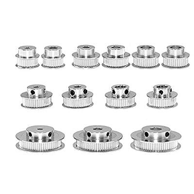 GT2 Aluminium Timing Belt Pulley 30 36 40 60 Teeth Gear Bore 5 mm 6.35 mm 8 mm 10 mm 12 mm Aluminium Gear Width 6 mm for 3D Printer Reprap (60 Teeth Inner Hole 5 mm)