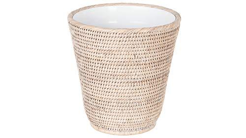 Kouboo La Jolla Rattan Plastic Insert White-Wash Waste Basket