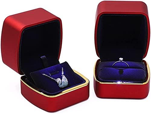 Tachiba Caja de joyería de Viaje Caja de joyería, 2 Piezas, DIRIGIÓ Caja de joyería Ligera, para Anillos y Collares, Caja de joyería de Terciopelo, Caja de Regalo de Anillo (Color : Red)