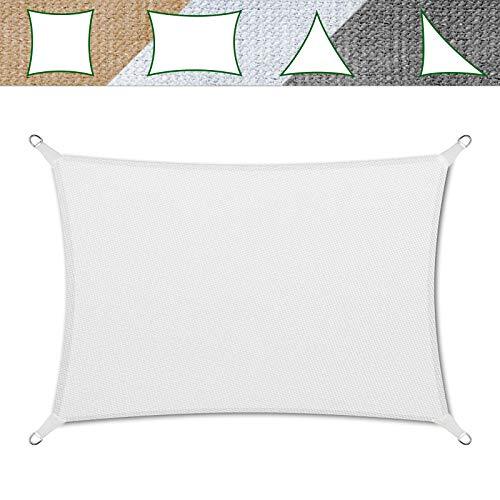 casa pura Sonnensegel für Garten, Terrasse & Balkon | wetterbeständig, UV-stabilisiert & atmungsaktiv | Sonnenschutz | Farbe Weiß, rechteckig 3x5m