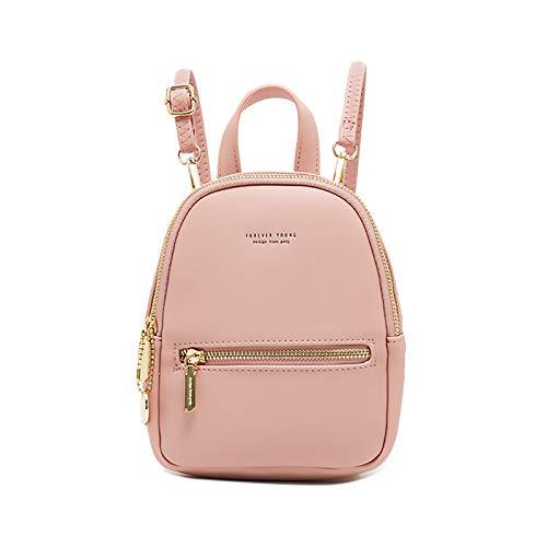LISM Mini-Rucksack für Damen, PU-Leder, 3 Tragemöglichkeiten, leicht, modisch, kleiner Rucksack für Teenager und Mädchen - Pink - Small
