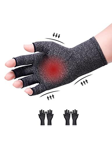 Donfri 2 Paare Arthritis Handschuhe Kompressionshandschuhe Fingerlose handschuhe fr Schmerzlinderung Gaming Tippen und Wrme fr Mnner und Frauen arthrose handschuhe (L, grau)