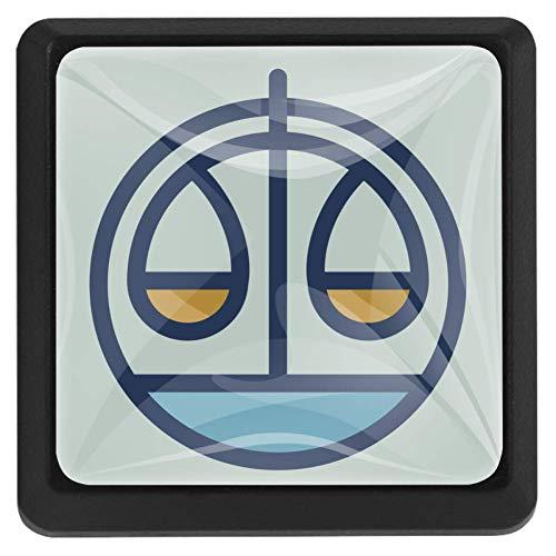 Vierkante lade knoppen, 3 Packs 37mm Trekken Handvatten met Zodiac Constellatie Patroon Steenbok, Gebruikt voor Slaapkamer Dresser Deur Kast Keuken Modern design 37x25x17mm/1.45x0.98x0.66in Zodiac Constellation Patroon Weegschaal