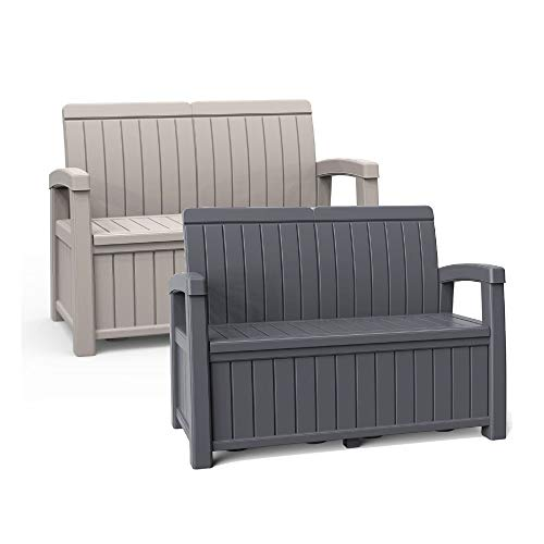Trueshopping Grey Outdoor 2-Seater Garden Storage Bench with 184L Capacity - Tool & Cushion Storage Box Patio Seating - Contemporary Design, Weather Resistant, Fade Free & Easy Clean