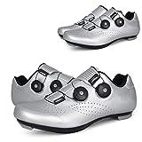 RHSMW Ciclismo Zapatos, Zapatos De Ciclismo De Carretera Coche De Carreras Profesionales, Zapatos Autoblocantes Hyun-Colores Ligeros Y Transpirables, Los Zapatos De Ciclo del Camino,Plata,EU41