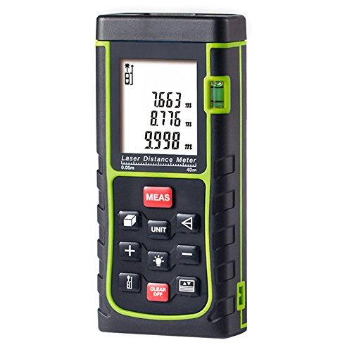Laser Entfernungsmesser Professional Entfernungsmesser mit Lcd-Hintergrundbeleuchtung, Staub, 2 x AAA Akku (0,05-40 m Messbereich, +/- 2 mm Messgenauigkeit)