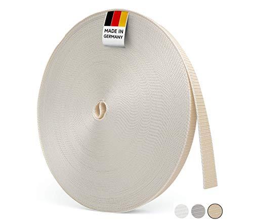 BAUHELD® 50m Rolladengurt 14mm 23mm [Made in Germany] - Für Rolläden an Türen und Fenster geeignet [Hohe Reißfestigkeit und UV-Stabilität] – Rolladen-Gurtband Rolle in Grau Weiß Beige