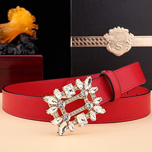 Bolso de pantalón de negocios de capa superior con cinturón de cuero para mujer con hebilla de cobre con incrustaciones de diamantes, cinturón de diseño dorado brillante de vaquera occidental de moda
