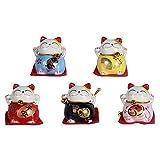Set of 5 Maneki Neko Lucky Cat Figurines Kawaii Japanese Smiley Waving Upright Cat with Lucky Fortune Home Decor