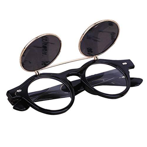 Battnot👓 Sonnenbrille für Damen Herren, Vintage Steampunk Goth Brille Flip Up Runde Mode Brille Halbrand Runde Männer Frauen Übergroße Billig Retro Sunglasses Super Coole Damenbrillen Travel Eyewear