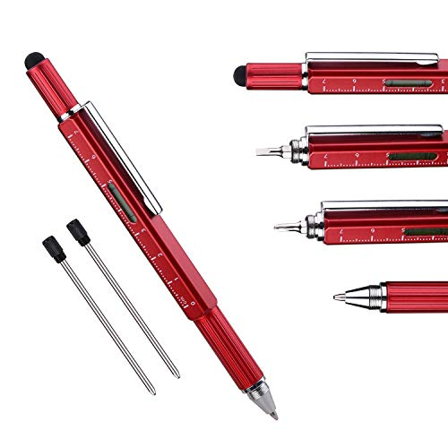 Useful Gadgets Business Gift Office Gifts, 6 in 1 Sliver tool pen with Ruler, Level gauge, Ballpoint Pen, Stylus and 2 Screw Drivers, Multifunction Tool Pen Fit for Engineer and Technician in Gift Box