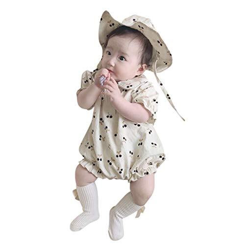 Mercatoo Roupas para recém-nascidos de 0 a 24 meses Macaquinho floral de manga curta com chapéu
