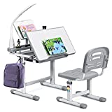 COSTWAY Kids Study Desk and Chair Set, Adjustable Children's Table with Eye-protection Lamp, Bookstand, Tilted Desktop, Ideal for Writing, Reading and Drawing (Grey)