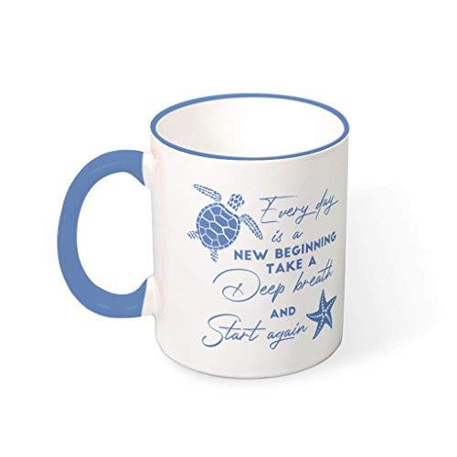 OwlOwlfan Every Day Is A New Beginning - Taza de cerámica personalizada, diseño de taza con asa para cafetería bar para mujeres y hombres, acero azul 330 ml