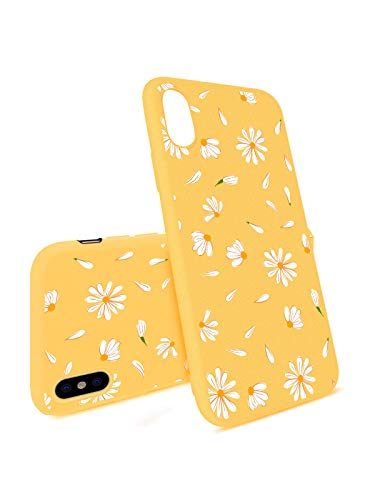 JOYLAND Daisy Case for iPhone XR Bumper Flower Floral Case Slim fit Flexible Matt Case Cover Yellow Skin Anti-Scratch Shockproof Shell Compatible for iPhone XR