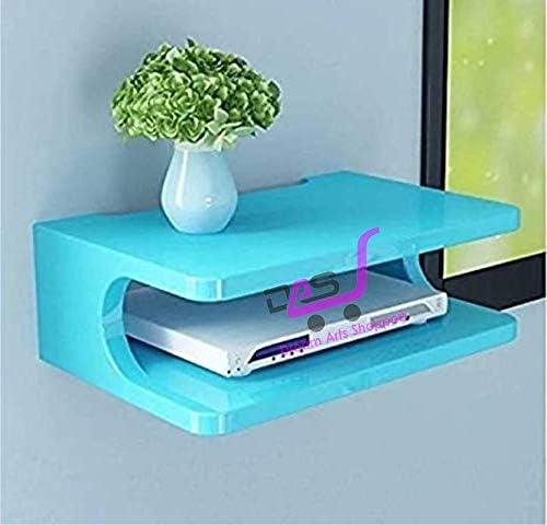 Dream Arts Shoppee Set Top Box Stand Wall Shelf & WiFi Modem Display Rack for Living Room (Blue)