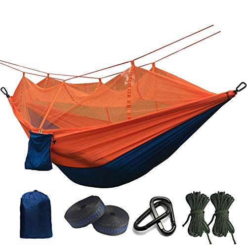 Ultralight Mosquito Net Parachute Hammock With Anti-Mosquito Bites For Outdoor Camping Tent Using Sleeping Blue and Orange