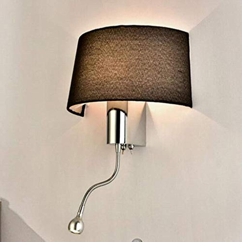 Beleuchtung LED Wandleuchte Modern Schlafzimmer Nachttischlampe Leselampe Mit Schalter Wandleuchte Innenleuchte (Farbe  Braun), Schwarz