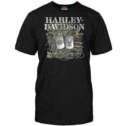 Harley-Davidson Military – Herren-T-Shirt, kurzärmelig, Overseas Tour | Erkennungsmarken - Schwarz - Mittel