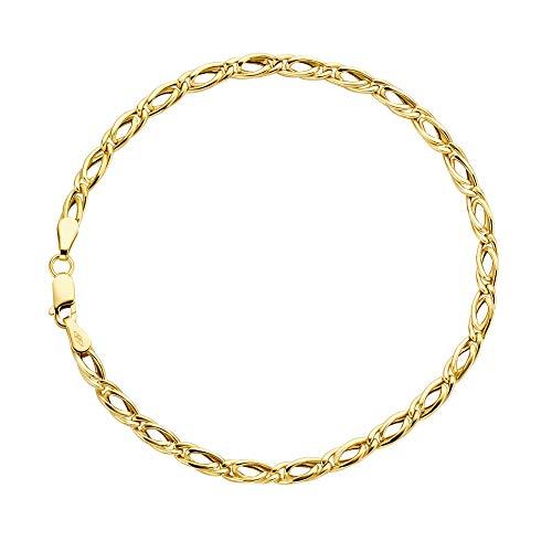 Tigeraugen Armband 14 Karat 585 Gelbgold Unisex Breite 3.50 mm (19)