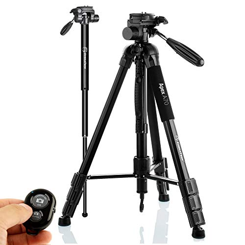 KobraTech 70 Inch Tripod for Phone and Camera - Apex A70 Tripod – Camera Tripod Stand with Bluetooth Remote Shutter, Phone Tripod Mount & Monopod