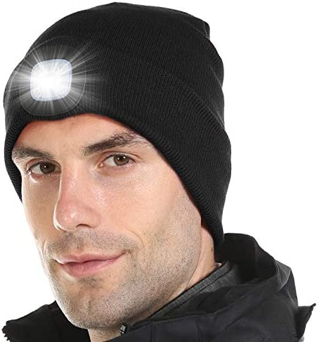 Attikee Unisex LED Beanie Hat with Light Rechargeable LED Headlamp for Outdoor Activities Winter product image