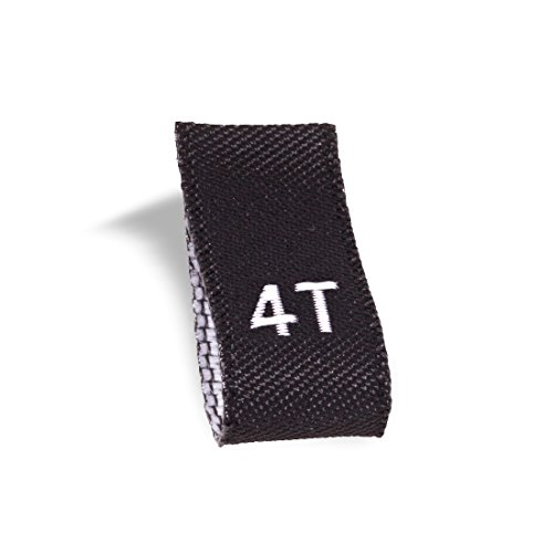 Wunderlabel Kid Size Label Woven Crafting Craft Art Fashion Ribbon Ribbons Tag for Clothing Sewing Sew on Clothes Garment Fabric Material Embroidered Labels Tags, White on Black, 4T, 25 Labels