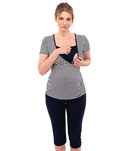 Herzmutter Stillpyjama-Umstandspyjama - Kurz-Kurzarm - Gestreifter Schlafanzug für Schwangerschaft - Wochenbett-Pyjama-Set - Nachtwäsche für Stillzeit-Stillfunktion - 2600 (L, Weiß/Blau)