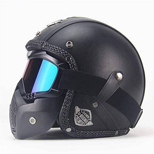 Moto Cascos Retro Hechos A Mano Personalidad Retro Harley Helmet Moto 3/4 Cuero Casco, Casco Abierto Motos con Visera Desmontable certificada por el Dot Medio Casco Hombres Y Mujeres, Negro,S