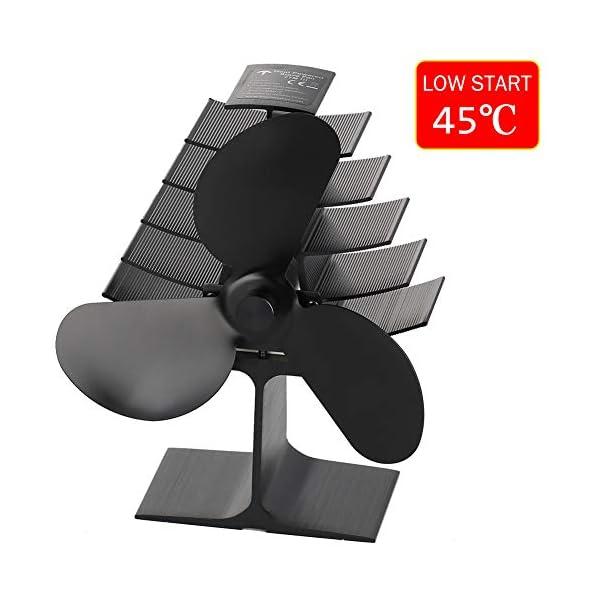 Ventilador de chimenea ECZO con 3 aspas de calor para leña, quemador de leña, respetuoso con el medio ambiente y…