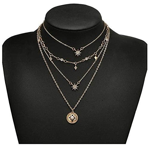 LKHJ Collar Colgante en Capas de Oro Playa Collares Collares Cadena Estrella patrón de joyería para Mujeres y niñas