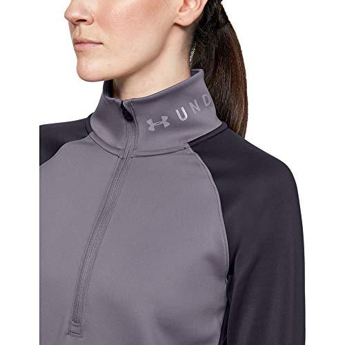Under Armour Coldgear Armour 1/2 Zip Color Block T-Shirt Manches Longues Femme Violet FR : S (Taille Fabricant : SM)