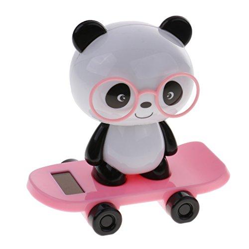 Gazechimp süß Solar Kunststoff Wackelfigur, Tanzende Figur Kopf schütteln, Solarbetrieb Schwein / Hund / Panda / Kaninchen Tier Figur, Geschenke für Erwachsene und Kinder - Panda - Rosa