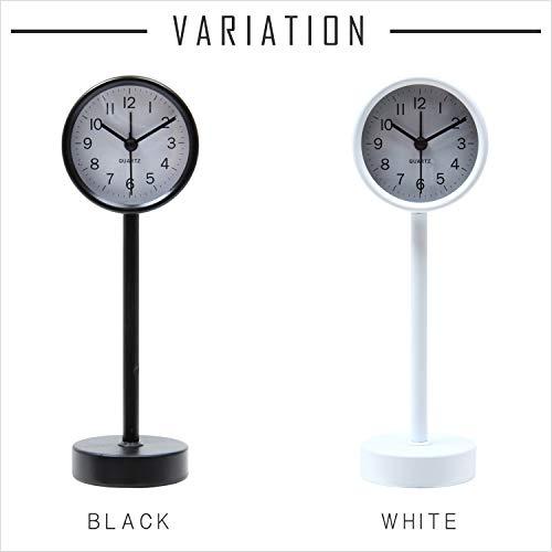 不二貿易置き時計高さ22.5cmブラックスタンドスイープ連続秒針静音コンパクト99054