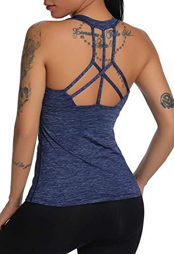 CROSS1946 Damen Sporttop Yoga Rückenfrei Oberteil Laufen Fitness Funktions Shirt Tank Tops