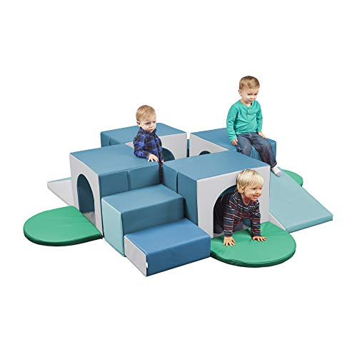 ECR4Kids SoftZone Four Tunnel Maze, Beginner Toddler Climber for Safe Active Play, Soft Indoor Obstacle Course for Kids, Climbing and Crawling Foam Structure for Playrooms and Classrooms Contemporary