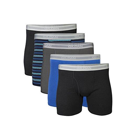 Gildan Men#039s Short Leg Boxer Briefs 5Pack Black/Royal/Charcoal/Stripe Medium