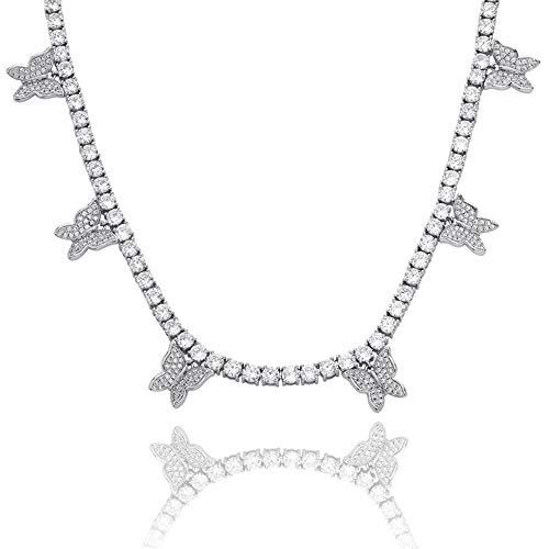 KMASAL Iced Out Bling Butterfly Choker Pendant Necklace 18K Gold Plated with 4mm Tennis Chain Hip Hop Lab Diamond Jewelry for Men Women (Silver-18 inch)