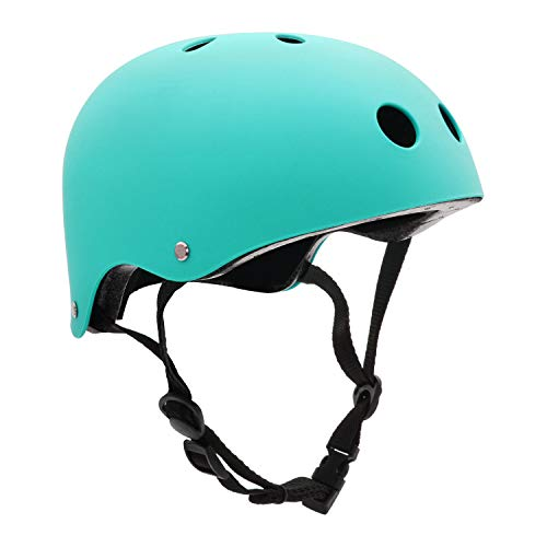 FerDIM Skateboard Helmet, Kids/Adult Bike Helmet with Removable Liner Skiing, Adjustable Straps CPSC Certified for Skateboard, Scooter, Skating, Cycling (Light Blue, Medium: 21.3