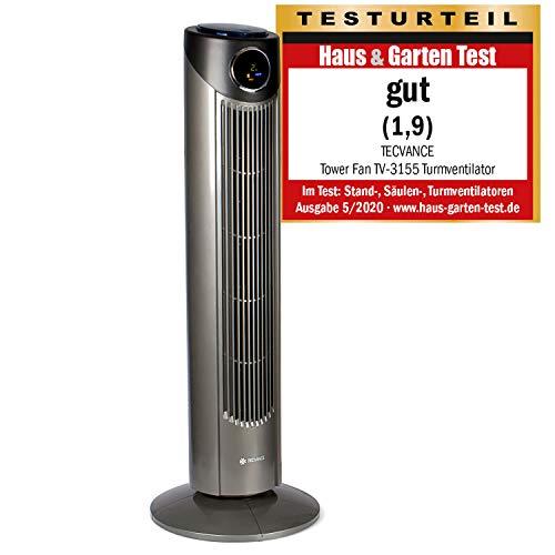 TECVANCE Tower Fan PLUS - Turmventilator mit Fernbedienung, Säulenventilator leise, 80° Oszillation (schwenkbar), Standventilator mit Timer, 86 cm x 31 cm, Grau