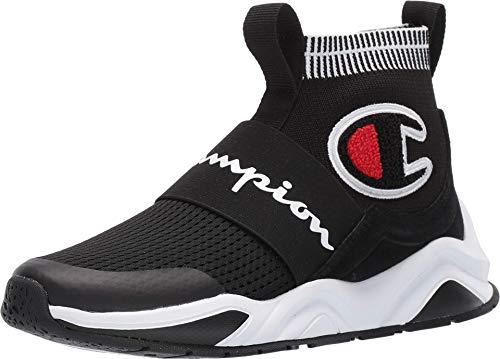 Champion Boy's Rally Pro Big C Knit Sock Top Sneaker, Black, 5M