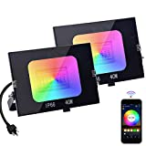 SZGMJIA LED Flood Lights RGB Color Changing, Outdoor Smart Flood Lighting RGBW 2700K Warm White & 16 Million Colors, 20 Modes, Grouping, IP66 Waterproof (2 Pack)