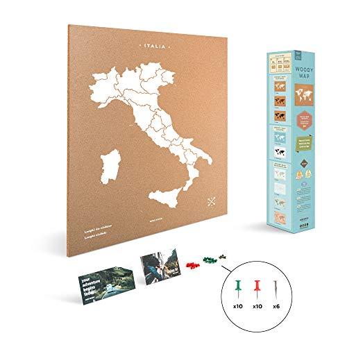 Miss Wood Italië kaart met zeefdruk op natuurlijke kurk, wit, XL (60 x 90 cm)