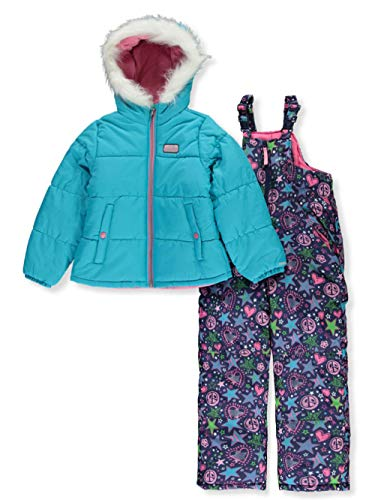 Skechers Girls' Big 2-Piece Heavyweight Snowsuit, Scuba Blue, 14/16
