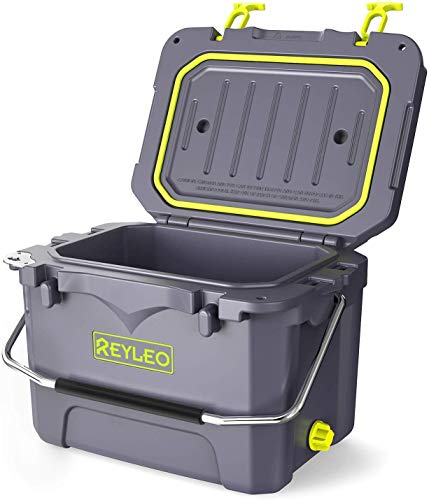 REYLEO Cooler, Rotomolded Cooler 21-Quart, 30-Can, 3-Day Ice Retention, Heavy Duty Ice Chest, Built-in Bottle Opener, Cup Holder, Fishing Ruler, Drain Plug (Dark Gray)