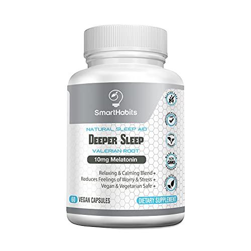 natural sleeps SmartHabits Deeper Sleep Natural Sleeping Aid with Melatonin and Valerian Root | Vegan | 60 Veg Caps Non-Habit Forming, Herbal Adult Pills | 100% Safe | 5-HTP, Chamomile, GABA, Magnesium, Mood support