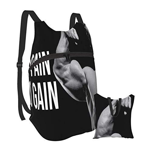 Yuanmeiju Arnold Quote Conquer Pose Gym Body Building Workout Senderismo Mochila Hombres y Mujeres Mochila Plegable Portátil Impermeable Viajes Deportes Compras Ultra